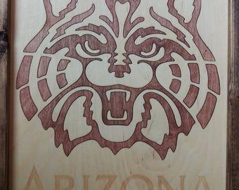 University of Arizona Wildcats Logo Wooden Wall Art | 11x14 Laser Cut Wood Inlay in Handmade Wood Frame