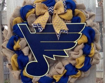 St Louis Blues wreath, burlap St Louis Blues wreath, Blues hockey wreath, stl blues, st louis blues decor, stl blues decor, blue and yellow