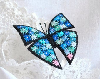 Hand embroidery blue butterfly brooch Flower embroidery Felt brooch Embroidery art Colorful butterfly pin Fabric butterfly Textile jewelry