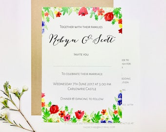 Floral hand-drawn wedding invitations, typography, watercolour, modern calligraphy