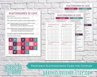 Printable Couples Scattergories Game, 8 Category List Cards | Digital PDF File, Instant Download