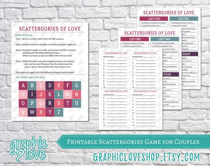 Featured listing image: Printable Couples Scattergories Game, 8 Category List Cards   Digital PDF File, Instant Download