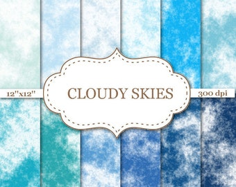 "CLOUDY SKIES digital papers Clouds Scrapbooking Paper Blue Sky Digital Scrapbooking Paper Cloud Backgorunds Blue Skies 12""x12"" #P167"