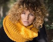 Mustard yellow scarf, oversized bulky cowl, outlander inspired, double loop neck warmer, infinity scarf, winter accessories, womens scarves