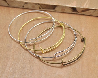 set 10pcs silver/gold/white K/antique brooch finish adjustable bangle bracelet blanks expandable bangle bracelets charm