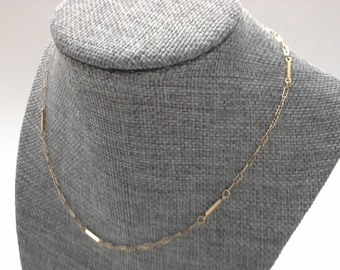 """Bar Link Chain, Gold Filled Chain, Vintage Gold Chain, Paper Clip Chain, 16"""" Gold Filled Chain, Delicate Gold Chain, Gold Bar Chain"""