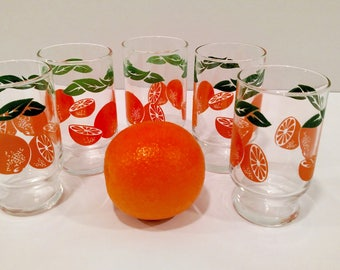5 Piece Orange Glasses - Vintage Orange Juice Glasses, Green Leafs Oranges