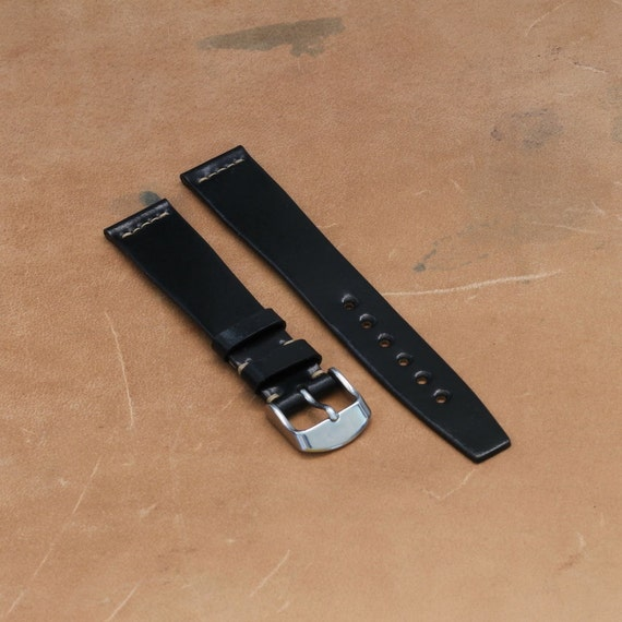 18/16mm Black Horween Shell Cordovan watch band - simple middle stitch