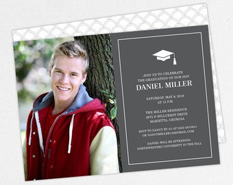 Graduation Invitation, Photo Graduation Invitation, Graduation Announcement, Printable, PDF, DIY, Printed Invites, Modern, Boy, Dan, Gray