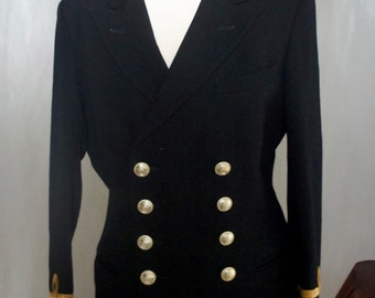 Vintage Ambassador Navy Officer's Double Breasted Uniform Jacket Size Small 38 Inch Chest With Queens Royal Naval Buttons, Military Costume