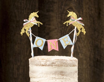 Unicorn One Cake Banner, unicorn cake topper