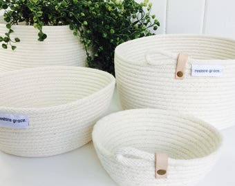 Natural // stitched rope bowl // Storage Basket // Gift // Homewares // Key Bowl // Jewellery Basket // Storage // Leather