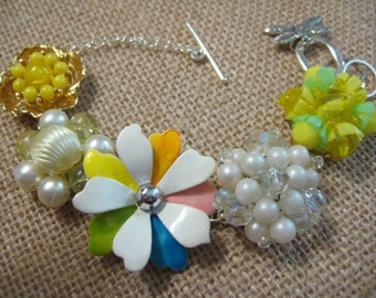 Vintage Earring Bracelet, Repurposed Jewelry, Vintage Earrings, Wedding, Bridesmaid, Upcycled, Recycled, Repurposed, eco friendly, OOAK(27)