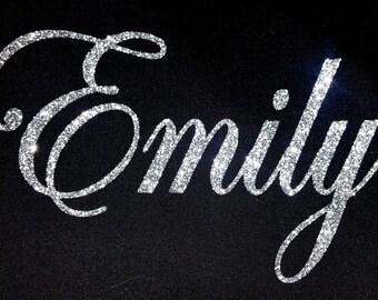 Personalised Name 7-12 Letters GLITTER Iron On / Hotfix - Swirly Font