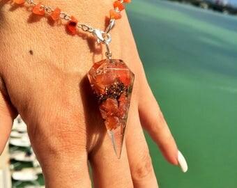 Carnelian Organite Chakra Pendulum w/ Reiki / Sacral Chakra Stone Healing Bracelet
