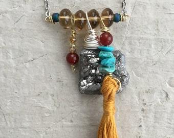Crystal druzy tassel pendant necklace