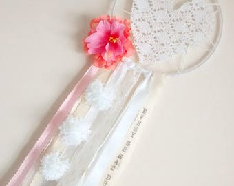 Personalised Crochet Dream Catcher Girls Nursery Dreamcatchers Flower Lace Pink Heart Bohemian Shabby Chic Kids Decor Wall Hanging