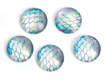 20 Glass Mermaid Fish, Dragon Scale Dome Seals Cabochon Round Flatback 12mm, 1573, 340a