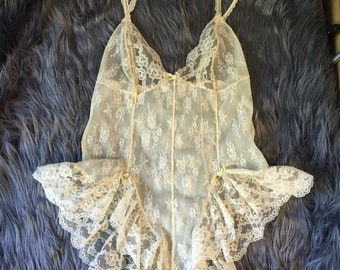Vintage Lace Bodysuit with Pearl Details