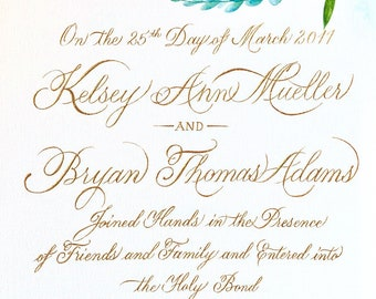 Hand-painted Marriage Certificate with Gold Calligraphy | Watercolor & Gold Calligraphy | Wedding Calligraphy | Wedding Certificate