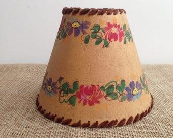 Lamp Shade, Vintage Lamp, Mid Century Lamp, 1950's, Flowers lamp shade, French vintage, Original Lamp shade, light fitting, retro lighting
