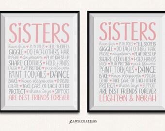 Sisters Print / Sisters Sign / Sisters Wall Art / DIGITAL / Sister Print / Sisters Printable / Sister Printable / Sisters Room / Sis Print