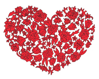 Red Floral Heart Greeting Card
