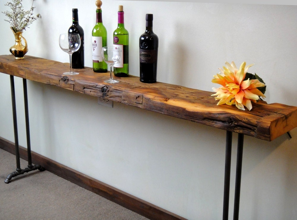 reclaimed wood narrow console table sofa table pipe legs