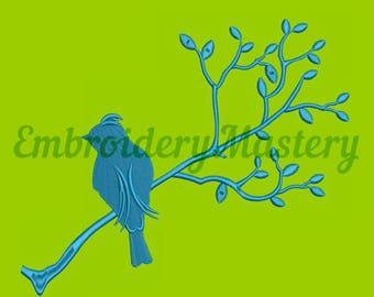 SILHOUETTE BIRD on a branch /version 2/ - machine embroidery design - instant download