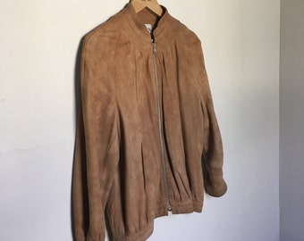 60s / 70s Ladies Camel Vintage Suede Jacket by Dawn Fashions w/ Zip Close & Stitching Accents at Neckline