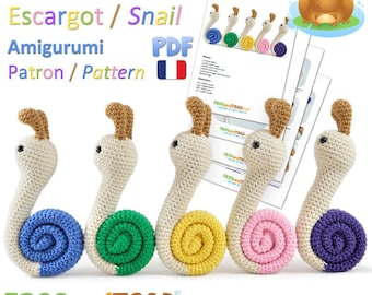 Escargot - Amigurumi Crochet PDF Patron - Français