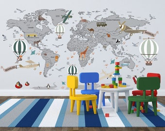 Colorful Wall Stickers To Draw A Map On A Kids Room Wall - Wall map children's room