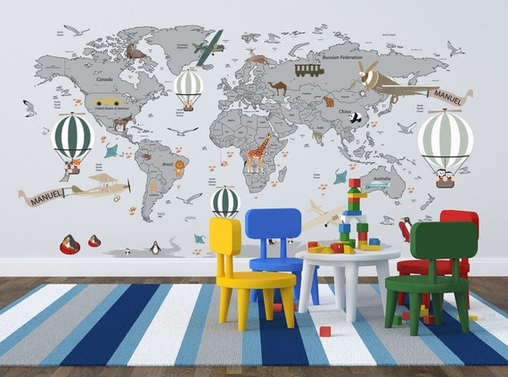 Airplane World Map Decal Clear Vinyl Decal Boys Room - World map for kids room