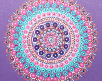 Mandala flower art on ready to hang canvas, 12 x 12 inches, beautiful dot artwork for bohemian home decor, blue purple pink