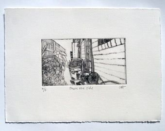 Down the side - drypoint etching