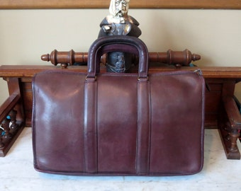 Coach Attache In Beautiful Burgundy Leather- Made In The New York Factory- U.S.A. - Very Nice