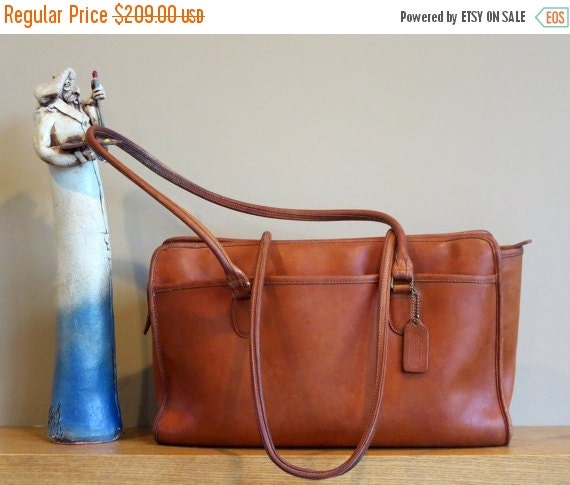 Football Days Sale Coach Gramercy Brief British Tan Leather With Dual Shoulder Length Straps Style No 5092- Very Rare- Very Good Condition