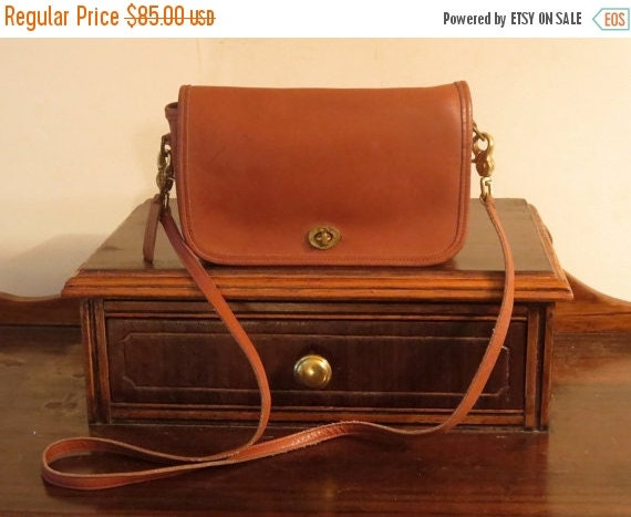 Football Days Sale Coach Pocket Purse Dark British Tan Leather Brass Hardware with Cross Body Strap - U.S.A. Made- Very Good To Excellent Co