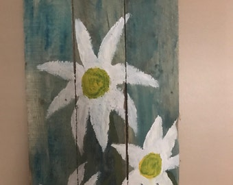 Hand painted flowers on pallet wood