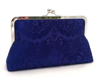 Royal Blue Lace Handbag Clutch Purse ~ Royal Blue Lace Summer Wedding Purse