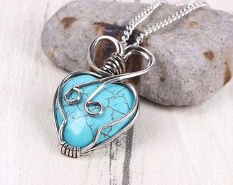 Blue Turquoise Necklace,Turquoise Heart Necklace,Silver Wire Necklace,Wrapped Stone Pendant,Boho Jewelry,Gift For Her,Moms Necklace