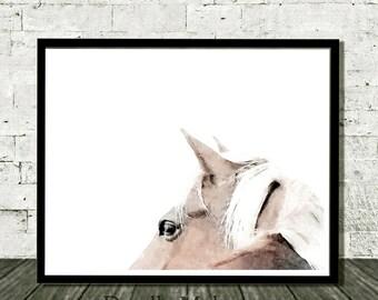 Horse Art Print, Horse Print, Printable Art, Horse Wall Art, Brown Horse, Minimal Horse, Modern Horse, Horse Wall Art Print