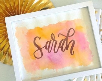 Girl gift ideas, girl room art, Nursery wall art, New baby gift, Hand lettered calligraphy, Baby name art, baby shower gift, watercolor