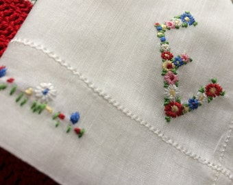 """Vintage Initial """"E"""" Hanky~Floral Embroidery Handkerchief~Hemstitched Edges~Monogram """"E"""" Embroidered~Colorful Floral Bouquet on White Cotton"""