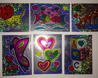 Lot of 6 Vintage Vending Machine Holographic Stickers