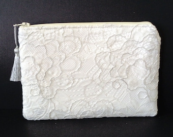 Diamond White Clutch, Silver Clutch, Lace Clutch, Brides Purse, Bridal Clutch, Bridesmaid Gift, Evening Bag