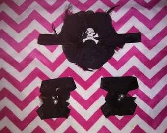 Skull and flower headband/bottomless sandals set
