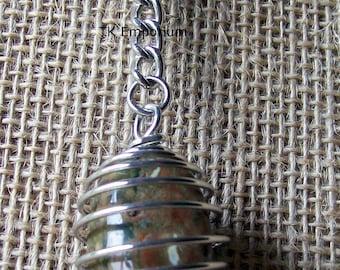 Rhyolite Crystal in Silver Plated Spiral Keyring Key Chain Keychain