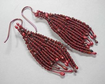 Purple wire twinned leaf earrings