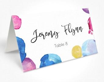 Colourful Watercolour Spots Wedding Place Cards, Modern Script Font, Place Cards, DEPOSIT | Peach Perfect Australia